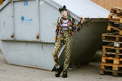 †Norelle Rheingold† - Thrift Shop Jacket (Floral Print), Thrift Shop Sequins Top (Black+Purple), Mcm Trousers, Underground Creeper - I look at things, I don't want to see.