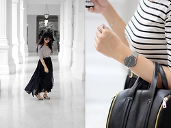 CËE TAY - H&M Belt, Zara Sandals, Forever 21 Bag, Cluse Silver Mesh Watch, H&M Silver Ring - Silver slate