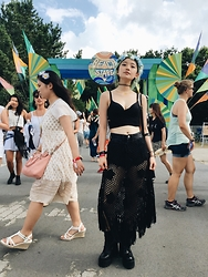 Chiemi Ito - Unif Choke Boots, Bershka Crop Top, One Spo Knitted Skirt - Summer vibes