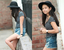 Pamela + Dami - Basement Black Hat, Vintage Striped T Shirt, Mango Shorts, Daniel Wellington Black Watch - She's well-known to police