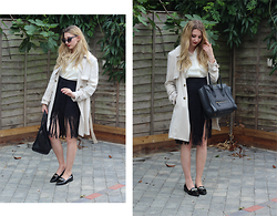 Laura Rogan - Primark Trench, Céline Bag, Missguided Shirt, Boohoo Skirt, Missguided Shoes, Boohoo Sunglasses - Fringed Workwear