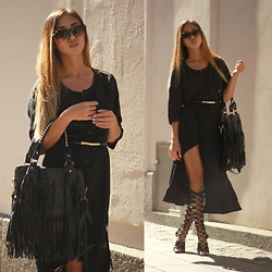 Louise Xin - Newdress Fringed Bag, Bik Bok Maxi Shirt Dress, Rebecca Stella For Nelly Lace Up Over The Knee Heels, Work Shop Half Frame Sunglasses - All black everything