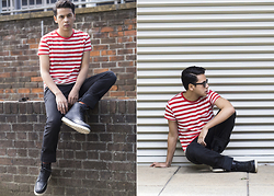 Ronan Summers - Tommy Hilfiger Scanton Slim Fit Jeans, Tommy Hilfiger People's Places Striped Red And White Tee - People's Places