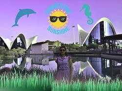 Emchloe - Forever 21 Blue Denim Dress, Asos Purple Sunglasses - A day at the Aquarium !