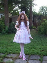 "Lorraine ""Luna"" K - Angelic Pretty Sugary Carnival Lavender Jsk, Lavender Sugary Carnival Bow, Baby The Stars Shine Bright White Princess Sleeve Blouse, Angelic Pretty Sugar Hearts Bracelet, Chocomint Lavender Bow Ring, Bodyline White Bow Wrist Cuffs, Pink Heart Macaron Ring, White Stripe Tights, Mu Fish Lavender Lace Ankle Socks, Angelic Pretty Pink Tea Party Shoes - Candy Stripe"