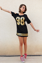 Nina Plavnik - Dresslink Golden Lettered Sporty Dress, Converse Red Hi Tops, Tally Weijl Black Tattoo Choker - '98