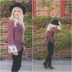 Kari Jane Ballesteros - Billabong Peasant Top, H&M Black Hat, Hot Topic Black Jeans, Not Rated Fringe Boots - Pretty Peasant