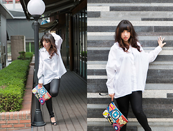 Lexi S. - Wonderplace Superhero Clutch, Ssfw Boyfriend Button Down Shirt, Bershka Faux Leather Leggings - Black & White and Geek All Over