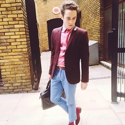 Enmanuel Oliveira - Topman Burgundy Blazer, Cheap Monday Shirt, Topman Crop Trousers - Phresh out of the office