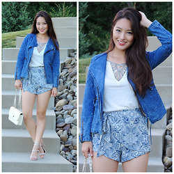 Kimberly Kong - Oasap Jacket, H&M Top, Francesca's Shorts, Amiclubwear Bag, Amiclubwear Shoes - My New Favorite Store