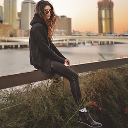 Elle-May Leckenby - Black Quilted Hoodie - Dusk on the city edge