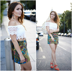 Klaudyna - Bershka Top, Zara Skirt, Zara High Heels, Fossil Watch, Zara Earrings - Romantic look