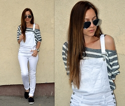 Marija M. - New Yorker White Dungarees, Pull & Bear Striped Off Shoulder Crop Top, Black Slip Ons - White dungarees