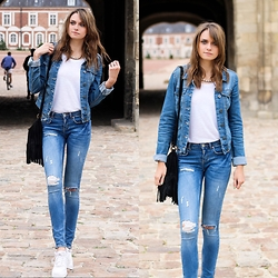 Audrey - Gina Tricot Jeans, New Look Top, Vero Moda Jacket, Brandy Melville Usa Bag, Nike Sneaker - Denim