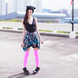 Ren Rong - Dresslink Cat Ear Beanie, Vedette Shapewear Celeste, Newdress Floral Jacket, We Love Colors Thigh High Stockings, Zalora High Top Sneakers - That Cat with the Droopy Ears
