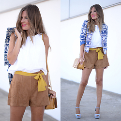Helena Cueva - The Desire Shop Blazer, Fashion Pills Shorts, Zara Top, Zara Sandals, Parfois Handbag - Remix