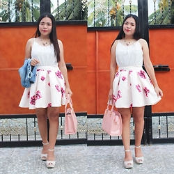 Sarah Rizaga - Happiness Boutique Purple Pansies Statement Necklace, Shein Floral Skater Skirt - Flower Power