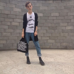 Lukas Hudec - Dr. Martens Boots, H&M Jeans, H&M Cardigan, Diy Top, American Apparel Bag, Casio Watches - In memory of..