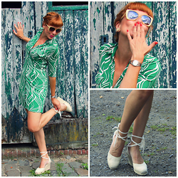 Elke - H&M Dress, Vintage Sunglasses, Mayenne Nelen Leather Earrings, Calvin Klein Watch, Castaner Wedges, Chanel Nail Polish - Kiss the frog!