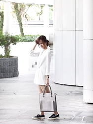 Brenda N. - Fashmob Romper, Zalora Grey Structured Tote, Superga Black Sneakers - White Out
