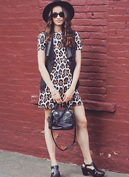 Lindsay W. - Asos Leopard Dress, Bebe Leather Vest, Kork Ease Platform Sandals, Free People Black Bag - Wild Thang