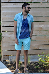 Hector Diaz - Topman Chambray Shirt, J. Crew Tank Top (Similar), J. Crew Shorts (Similar), Sperry Topsider Boat Shoes - Cool for the Summer