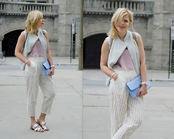 Liat Neuman - Aritzia Top, Mendocino Pants, Dorothy Perkins Clutch, Zara Sandals, Club Monaco Vest - Weekend in Montreal