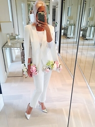 Amelia Tordoff - Reiss Trousers, Asos Heels, Asos T Shirt, Customised Cape - In Bloom