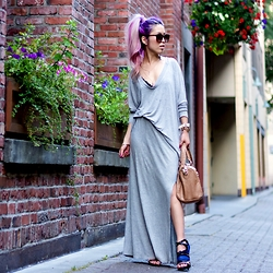 Aika Y - Zara V Neck Light Sweater, Aritzia Side Slit Maxi Skirt, Justfab Mesh Sandals, Steve Madden Satchel, Boohoo Double Horn Necklace, Aritzia Lace Bralette - Summer Gray Matter