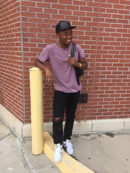 Kedrick Pasley - Adidas Original, H&M Black Jeans, Old Navy Static Crew Neck, Aldo Gold Necklace, Black Leather Hat - First Day.