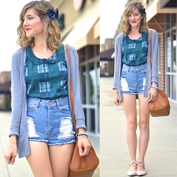 Lauren Douglas - Modcloth Let Me Patch Work It Top, Forever 21 Zippered Faux Leather Satchel - Collared Blouse and Cut Offs