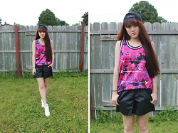 Bethery Yang - Floral Print Jersey, Diy Leather Jogging Shorts, Jordan 1 High Top White Ones - Do All Things With Love