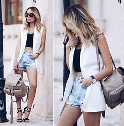 Silvia P. - Mango Vest, Stradivarius Denim Shorts, Guess Sandals, Lauramaxim Backpack, Guess Top, Guess Shades - CAPPUCCINO
