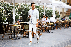 Chaby H. - White Blazer, Ripped Jeans, Axelarigato Pony Hair Sneakers - Strolling in white