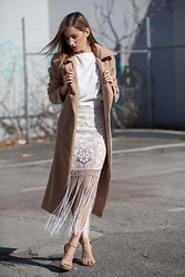 Emily S - Boohoo Coat, Out With Audrey Skirt - Lace and Fringe