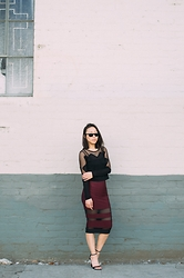 Amy Lai - Thrifted Mesh Top, Flea Market Mesh Skirt, Ray Bans Sunglasses, Michael Antonio Heels - Red Room of Pain