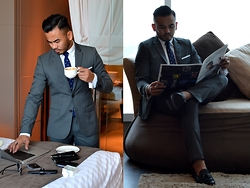 Paul Ramos - H&M Grey Suit, H&M White Crisp Shirt, Chanman Knitted Pole Dot Tie, Not Prada Black Tassel Loafers - THE IDEAL MAN