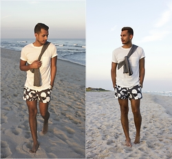 Jorge Gallegos - H&M Linen Shirt, H&M Floral Swim Trunk, H&M Henley Shirt - Muted Summer