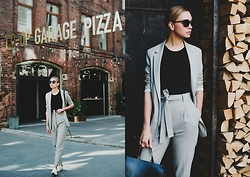Dasha Shcerbakova - Massimo Dutti Suit, Asos Bagpack, New Balance Trainers - Perfect Grey