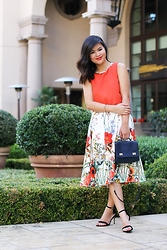 Olivia Yuen - Baublebar Necklace, Asos Top, Zara Bracelets, Zara Skirt, Zara Bag, Asos Shoes - Flourishing Poppies