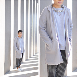 Karl Philip Leuterio - Margiela X H&M Neckpiece, Asos Fleece Shirt, Cn Direct Coat, Cn Direct Striped Pants, Dr Marten's Derby - Winter Mornings