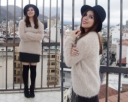 Deborah Ferrero - Black Hat, Fluffy Cream Sweater, Faux Leather Skirt, Black Stockings, Black Ankle Booties - AGAIN AND AGAIN