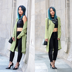 May B. - Sheinside Green Long Coat, New Dress Crop Top, Weekday High Waist Jeans, Zara Lace Up Stiletto - OHMAYGOD.com || green long coat