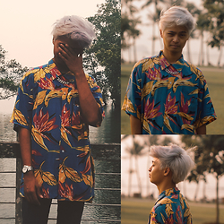 Haha Hariz - Thrifted Floral Oversized Shirt, H&M Silver Chain Necklace, Guess Silver Watch, Self Grown Lol Silver Hair - Bermuda
