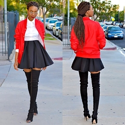 Eny K - American Apparel Red Bomber, Prada White Button Down, H&M Mini Pleated, Laurence Dacade Thigh High - RED BOMBER