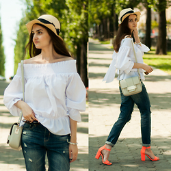 Christina & Karina Vartanovy - Accessorize Straw Fedora Hat, Sheinside White Off Shoulder Bow Back Blouse, H&M Grey Mini Cross Body Bag, Sheinside Ripped Boyfriend Jeans, Pull & Bear Neon Heeled Ankle Strap Sandals - Karina: see you again