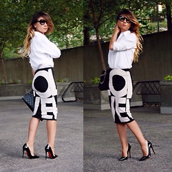 Aurela Lacaj - Topshop Skirt, Christian Louboutin Shoes, Bcbg Shirt, Chanel Sunglasses - Weekend vibe !
