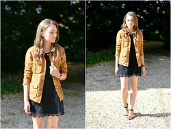 Sophie C - H&M Lace Dress, Jack Wills Utility Jacket, Topshop Leather Sandals - Modern Classic