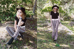 Catarina S. - Lindex Hat, New Look Crop Top, New Look Flares, H&M Earrings, Glitter Bandana, Asos Belt, Topshop Shades, Secondhand Wedges - ► Rivers - Thomas Jack