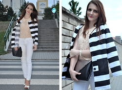 LOVERENCE Andrea Jelenská - Coat, Vero Moda Top, Primark Bag, Orsay Braclet - Black & White